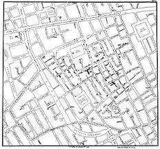 The famous map of John Snow, who identified the source of the Soho (London) cholera outbreak of 1854 using epidemiological methods. He is considered the Father of Modern Epidemiology.